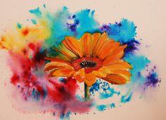 Watercolor Daisy Tattoo, Gerbera Daisy Tattoo, Gerbera Flower, Watercolor Flowers, Watercolor Tattoo, Flower Cover Up Tattoos, Winnie The Pooh Tattoos, Daisy Wallpaper, Fox Tattoo Design