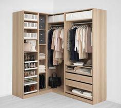 Corner Wardrobe Closet, Bedroom Built In Wardrobe, Wardrobe Room, Wardrobe Furniture, Bedroom Closet Design, Home Room Design, Closet Designs, Bathroom Interior Design, Home Decor Bedroom