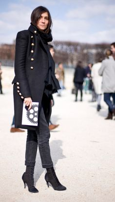 Emmanuelle Alt working a gold button peacoat, black denim and heels #SuccessfullyStyled