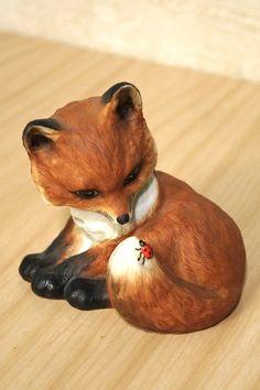 Adorable 1985 porcelain fox figurine with ladybug by faerieflotsam