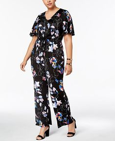 19f6232e54f Plus Size Printed Tie-Waist Jumpsuit - NY Collection Cute Plus Size Romper