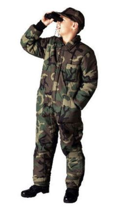 a4e5e394b75 Other Boys Clothes Sizes 4 1067  Boys Kids Woodland Army Forest Camo  Insulated Zipper Coveralls
