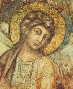 CIMABUE Madonna Enthroned with the Child, St Francis and Four Angels (with detail) 1278-80 Fresco, 320 x 340 cm Lower Church, San Francesco, Assisi