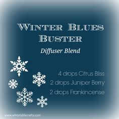 DIFFUSER BLEND IDEA: Winter Blues got you down? Get a little lift with this diffuser blend...  Citrus Bliss: Positively affects mood with energizing  and refreshing properties Juniper Berry: Helps relieve tension and stress Frankincense: Helps build and maintain a healthy immune  system  www.mydoterra.com/maryczarnecki