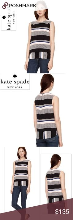 Kate Spade New York Bay Stripe Double Layer tank Absolutely stunning Kate Spade New York Bay Stripe Double Layer Tank.  🔹 55% Rayon, 45% Visocose.  🔹Self fabric under layer.  🔹 Sleeveless.  🔹loose shell.  🔹Style #: njmu6652 🔹 center back invisible zipper with hook & eye closure.  🔹 dry clean only  🔹Imported.  🔹Retails: $228 + Tax 🔹 Please no trades or pp.  🔹 Follow me on Instagram for giveaways & special deals.  💝IG: poshmark_molinda25 kate spade Tops Tank Tops