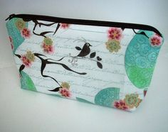 Cosmetic Bag Large Flat bottom zipper pouch Gaget by JPATPURSES, $20.00