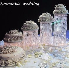 Set of 4 Acrylic Crystal Chandelier Cake Stand 2 layers of Beads By Forbes Favors Asian Style With Battery LED Lights Wedding Cake, Anniversary or Special Occasion ( Diameters Silver Cake Stand, Crystal Cake Stand, Metal Cake Stand, Chandelier Cake Stand, Metal Chandelier, Chandelier Wedding, Chandelier Crystals, Chandelier Centerpiece, Centerpiece Flowers