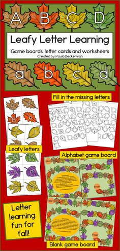 Fall learning fun with leaves, just right for preschool and kindergarten students who are learning letters and sounds! LOTS of ways to use these -your students will love it! TpT $
