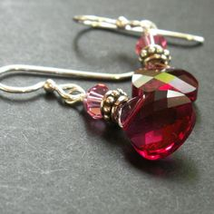 Crystal Briolette Earrings  Fuchsia and Honeysuckle  by vickiorion, $38.00