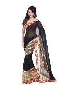 Shonaya Black Colour Georgette & Net Printed Saree With Unstitched Blouse Piece