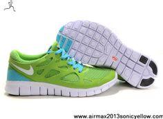Buy 2013 New Nike Free Run 2 Mens 443815-010 Green Blue Glow Casual shoes Shop