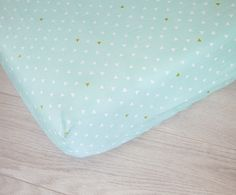 Changing Pad Cover  Mint and White Triangles