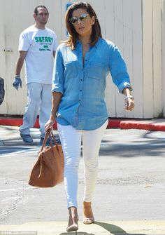 Double denim delight:Eva Longoria nailed low-key chic as she headed out…