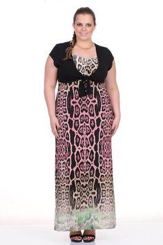 Moda feminina plus size   81811 Vestido em malha animal print com bolero