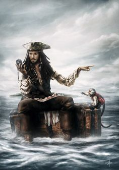 Jack Sparrow and Jack the monkey - Pirates of the Caribbean fan art Johnny Depp, Pirate Art, Pirate Life, Captain Jack Sparrow, Will Turner, Disney Art, Disney Movies, Pixar Movies, Elisabeth Swan
