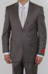 MEN'S TWO BUTTON WOOL TAUPE SUIT