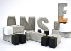 Choose any 4 concrete letters. Each concrete letter measures approximately 5cm high and 2cm deep. Please note that the letters F, J, P, Q will need