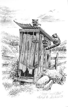 Pencil art | ... Home, outhouse pencil drawing by western Artist Virgil C. Stephens