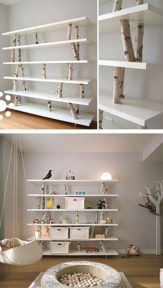 Bookcase made of white wood, how to make a bookcase.-Bücherregal aus weißem Holz, wie macht man ein Bücherregal … – Bilder Bilder Bookcase made of white wood, how to make a bookcase … – - Diy Furniture, Furniture Design, Diy Home Decor, Room Decor, Diy Casa, Home Projects, Bookcase, Tree Bookshelf, Wood Bookshelves