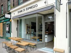 Store St Espresso at the back of Senate House/British Museum: Square Mile and other fine guest coffees, seriously amazing chocolate and banana muffins in a lovely, bright space. It's a place that would be infested by hipsters in the East End but actually remains pleasantly quiet.