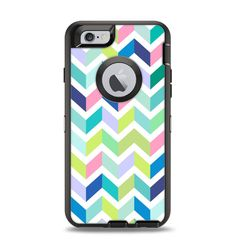 The Fun Colored Vector Segmented Chevron Pattern Apple iPhone 6 Otterbox Defender Case Skin Set