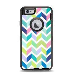 The Fun Colored Vector Segmented Chevron Pattern Apple iPhone 6 Otterbox Defender Case Skin Set