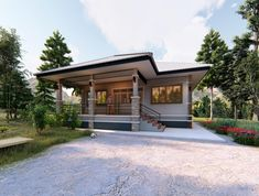 One Storey Elevated House Concept with 2 Bedrooms - Pinoy House Plans Bungalow House Design, Small House Design, Modern House Design, Bungalow Ideas, Elevated House Plans, Small House Plans, House Layout Plans, House Layouts, Adams Homes