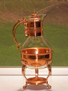 Vintage-Solid-Copper-Brass-Glass-Coffee-Tea-Carafe-Decanter-Warmer-2-pcs-mint