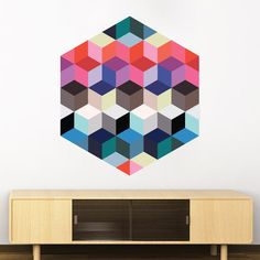Geometric 3D Profundity Cubes Sticker