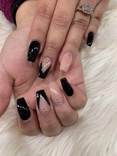 Black Clear Acrylic Nails, Black Acrylic Nails, Acrylic Nail Designs, Black Nail Designs, Black Acrylics, Black And Nude Nails, Black Ombre Nails, Emerald Nails, Best Nail Salon