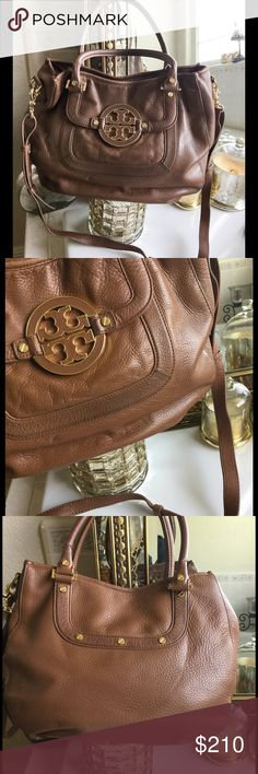 """Tory Burch Amanda Satchel! 🚫No Trades🚫 Luggage colored Amanda bag by Tory Burch! On front of bag there's a 2.5""""(approx) piece of the trim that's darker than the rest(pictured). The inside has some stains on the liner. All in all a great bag, probably could use a good cleaning inside and out😊 Measures 14.5""""x 11 1/4"""". Tory Burch Bags"""
