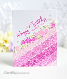 Happy Birthday Wishes Card by Kay Miller for Papertrey Ink (March 2016)