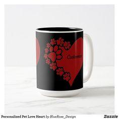 Personalized Pet Love Heart Two-Tone Coffee Mug Beer Mugs, Coffee Mugs, Creature Comforts, Christmas Card Holders, Pet Shop, Love Heart, Photo Mugs, Keep It Cleaner, Colorful Backgrounds