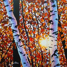 Algonquin Amber I by Tim Packer, Giclee on Canvas Scenery Paintings, Landscape Paintings, Canvas Paintings, Landscapes, Birch Tree Art, Commercial Art, Easy Watercolor, Autumn Art, Canadian Artists