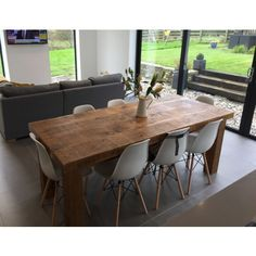 One of our signature pieces, the Sherwood Plank Top Table is a real centrepiece. Handcrafted from solid wood with rustic legs and a stunning chunky top. Dining, Solid Wood, Raw Furniture, Kitchen Table, Dining Table, Table, Solid Wood Dining Table, Kitchen Diner, Wooden Dining Tables