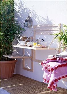 wall-mounted table from untreated alder wood folds to only from wall, extends to about . chair folded or extended, about ~ by car-moebel furniture . lots and lots of cool furniture at this german website ~ klein & klappbar II Small Space Living, Small Spaces, Outdoor Dining, Outdoor Spaces, Outdoor Seating, Wall Mounted Table, Fold Down Table, Cool Furniture, Sweet Home