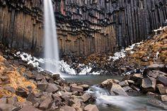 The Svartifoss waterfall in Skaftafell. Iceland.