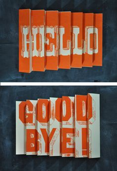 Hello / Goodbye 3D poster by Man vs ink on Etsy
