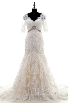 New Style Trumpet-Mermaid V-Neck Natural Chapel Train Tulle and Lace Ivory/Champagne Half Sleeve Zipper With Buttons Wedding Dress Beading with Appliques and Beading LD3859