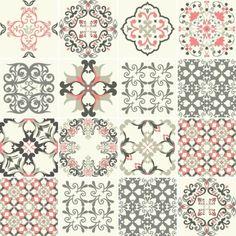 KIT Adesivo Azulejo Cinza e Rosa