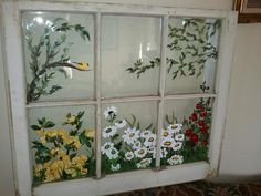 Bud vases old window frames and window frames on pinterest - Glass window painting ideas ...