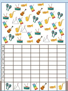 musical instruments number count worksheet for kids Music Lessons For Kids, Music For Kids, Math For Kids, Crafts For Kids, Music Math, Kindergarten Music, Music Worksheets, Worksheets For Kids, Homemade Musical Instruments
