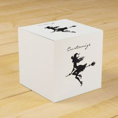 Witch Riding Broom Halloween Thunder_Cove Favor Box - black gifts unique cool diy customize personalize