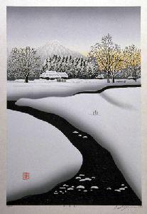 MIYAMOTO,Shufu[a winter scene] ed.200, 55.5(cm)x36.5(cm), 2001, woodblock Japanese Art Modern, Japanese Prints, Yuki Onna, Art Japonais, Japanese Painting, Japan Art, Nihon, Block Prints, Winter Scenes