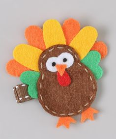 Take a look at this Brown & Yellow Turkey Clip by Snuggle Bug Kidz on #zulily today!