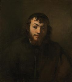 """Animated by the strong light that casts one side of the sitter's face into deep shadow, the compelling figure is painted in the """"rough manner"""" of Rembrandt's late style, with a limited palette of earth colors. 
