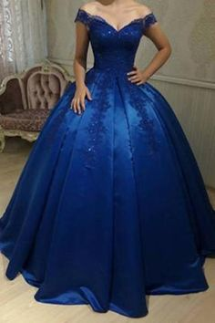 e99cfd15c77 Royal Blue Off Shoulder Lace A line Long Evening Prom Dresses
