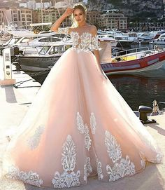Prom Dress For Teens, Dramatic Illusion Neck Half Sleeves Pink Ball Gown Court Train Wedding Dress with Appliques, cheap prom dresses, beautiful dresses for prom. Best prom gowns online to make you the spotlight for special occasions. Sheer Wedding Dress, Wedding Dress Train, Long Wedding Dresses, Wedding Dress Sleeves, Designer Wedding Dresses, Wedding Gowns, Wedding Bells, Floral Wedding, Bridal Dresses 2018