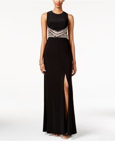 Blondie Nites Juniors' Embellished Illusion Cutout Gown