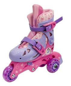 Disney Princess Convertible 2 In 1 Skate (085955023380) Disney Princess graphics Converts from a trike skate to an inline skate, trike skate is great for beginners, inline skate for more advanced skaters Safe, stable design Adjustable size range J6-J9 Designed for ages 3-6 years old